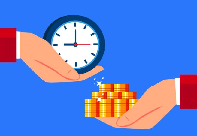 時間をお金を買うことが幸せに繋がることのイメージ図です。