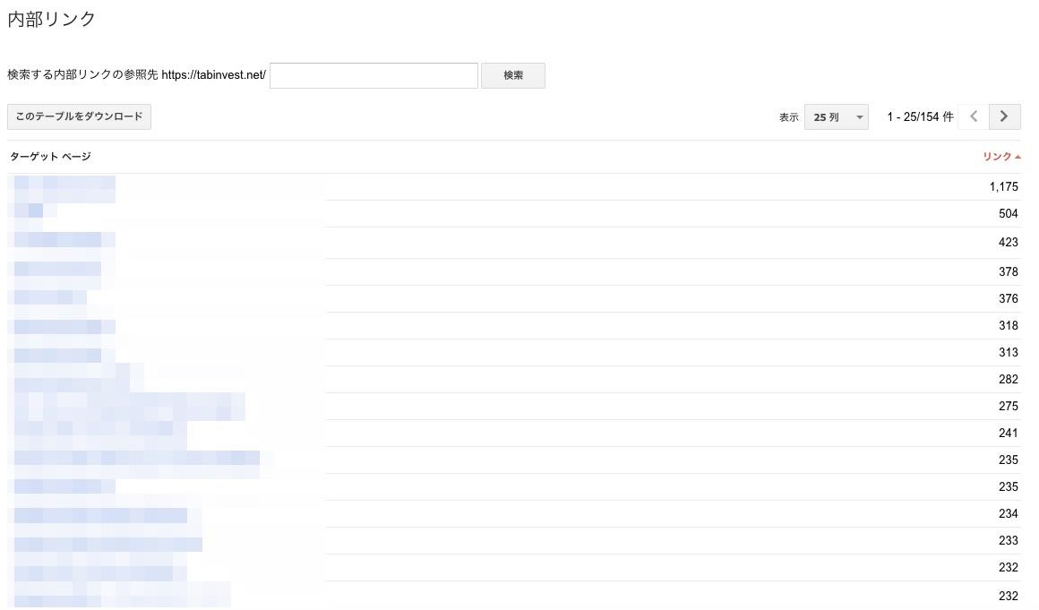 内部リンクの管理画面
